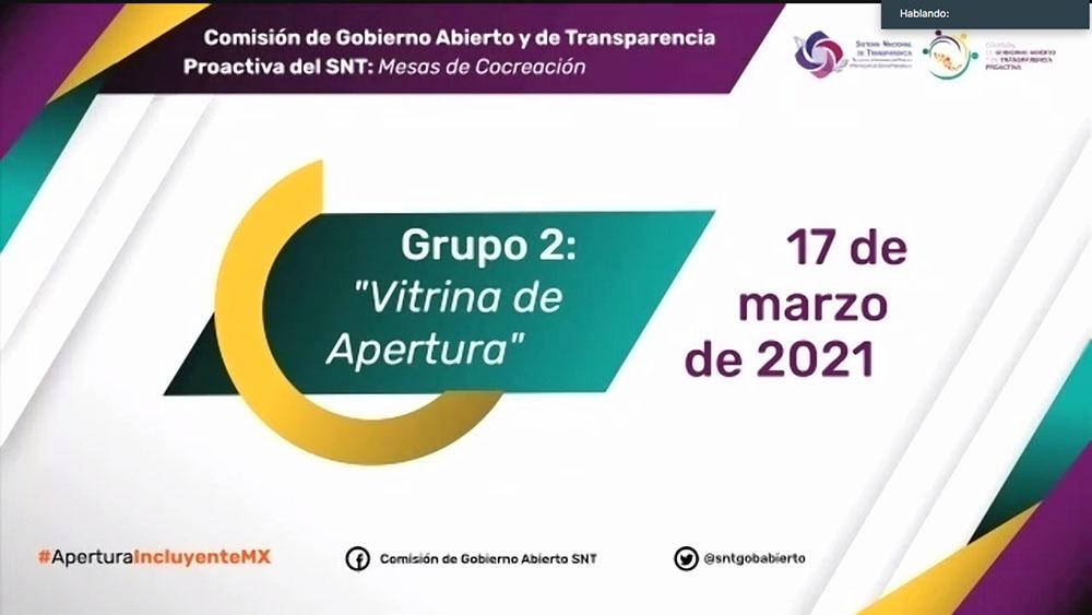 MESA COLABORATIVA DEL GRUPO DE TRABAJO 2 VITRINA DE APERTURA COMISIÓN GOBIERNO ABIERTO 170321